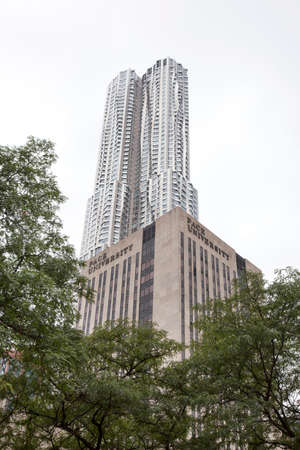 pace: building of Pace university and beekman tower by frank gehry in new york city lower manhattan
