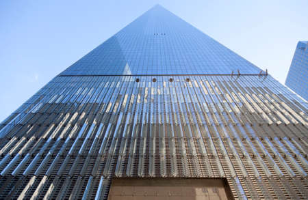 wtc: facade and blue sky of one world trade centre in lower manhattan new york city Editorial