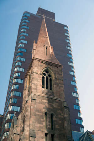 incarnation: tower of church of the Incarnation in new york city on 209 Madison Ave in reflected light