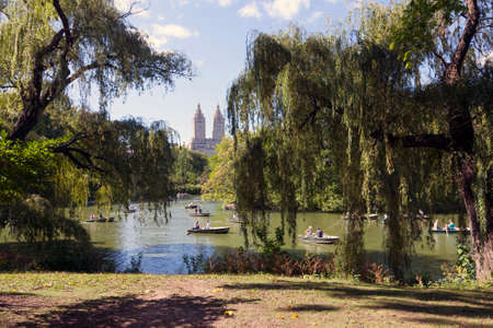 people in row: New York City, 14 september 2015: people row in boats on new york city central park pond near boathouse