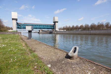 sluice: empty prinses marijke sluice in dutch amsterdam rijnkanaal in the netherlands on sunny spring day