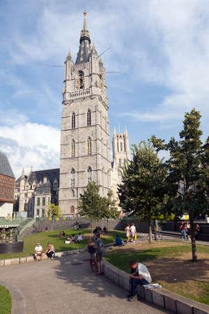 belfort: belfort and tram rails in centre of belgian city Ghent
