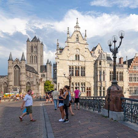 st niklaas church in belgian town of Gent seen from michaels bridge