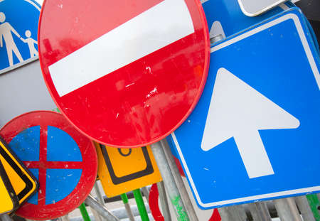 put together: a lot of european street signs put together