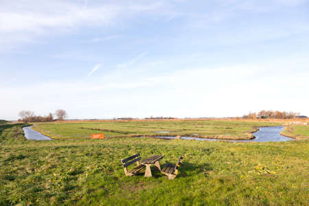picknick: picknick area and meadows in waterland noord-holland in countryside north of amsterdam Stock Photo