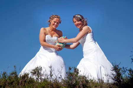 two just married brides play rugby in white wedding dress against blue sky Stock Photo