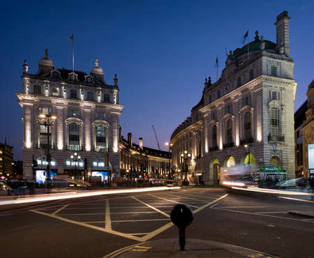 London, United Kingdom, 7 may 2017: traffic on piccadilly circus at the beginning of the night in london