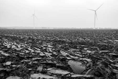 freshly plowed country in holland seen closeup 写真素材