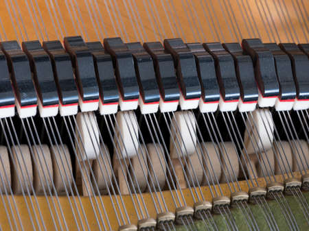 Mirada abstracta en el interior de un piano de cola bechstein