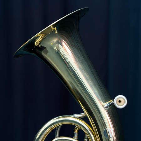 pitcher of baritone brass instrument against dark background Stock Photo