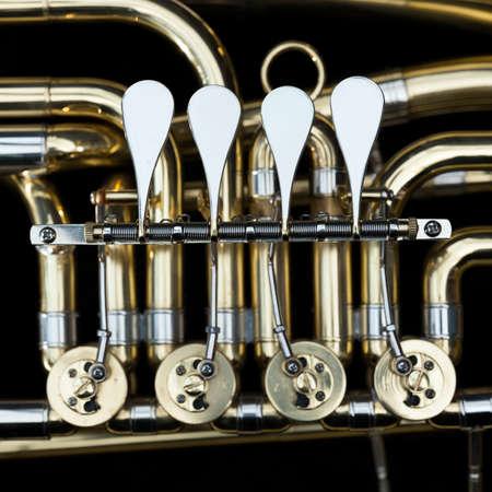 baritone brass instrument with valves in dark case