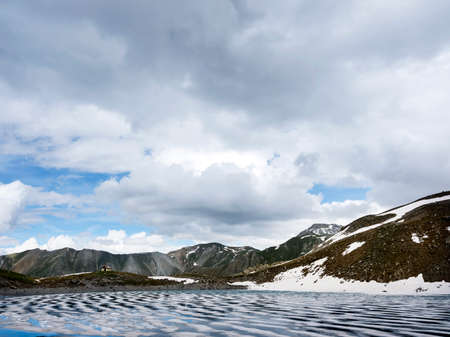 small st anne lake in parc natural du queyras near ceillac in the french alps 写真素材