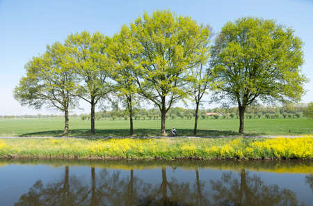 couple rides bicycle along water of valleikanaal near leusden in the netherlands and passes yellow blooming flowers of rapeseed Stockfoto - 121674401