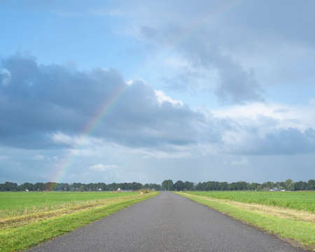 country road with meadows and rainbow in the netherlands