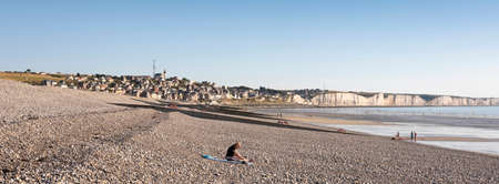 people on beach near Ault on the coast of french normandy