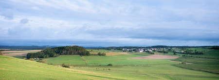 village in landscape of german eifel in summer