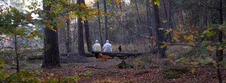 two elderly women and dog rest in autumn forest on tree trunk Reklamní fotografie