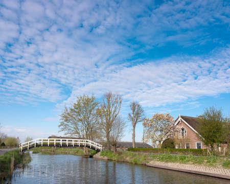 footbridge and old farm near river Lange Linschoten in holland under blue sky in spring
