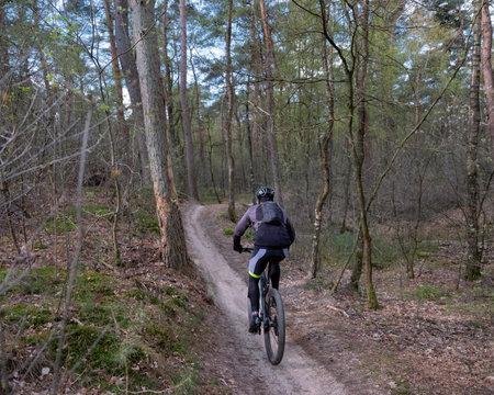 man exercises on mountain bike in spring forest near utrecht in holland Reklamní fotografie
