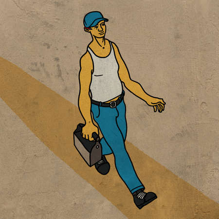 unskilled worker: Construction worker walking with toolbox