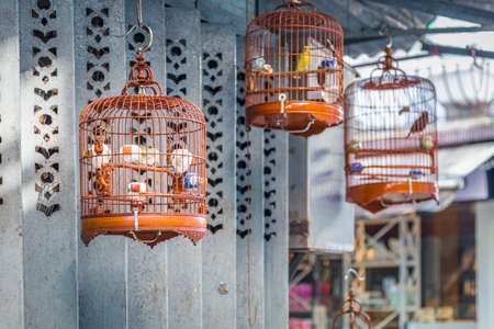confined: Bird cage hanging on streets, Hong Kong