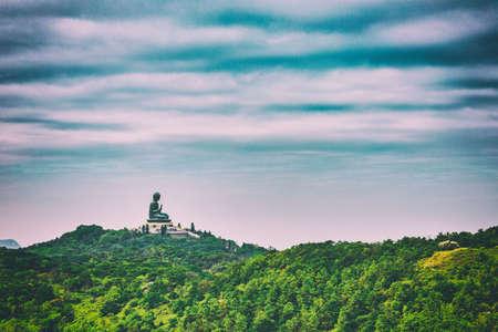 spiritual background: Giant Buddha Statue on the mountain, panorama