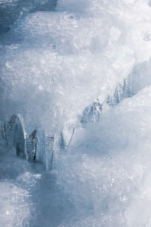 Iced water wall close up, Japan
