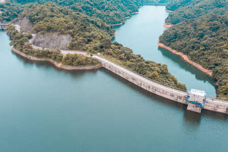 Dam of a reservoir in aerial view