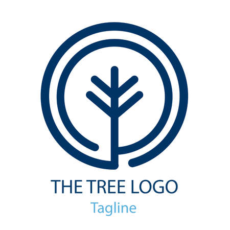 Logo of Tree with half moon and wave Illustration