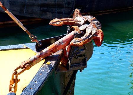 old anchor of sin boat Stock Photo