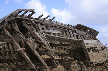 wreckage of wood of sin boat in Brittany Atlantic France