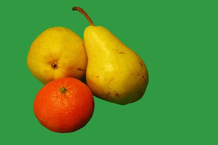 fruits on green bottom, pears and orange