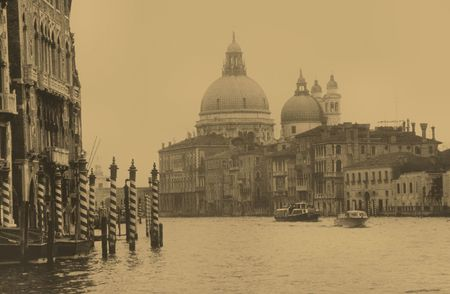 Venice 1980, the big channel, sepia,