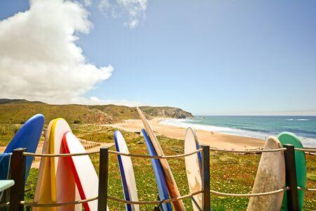 barlavento: Praia do Amado Beach and Surfer spot at the Algarve Portugal Stock Photo