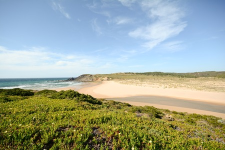 praia: View to beach Praia da Amoreira District Aljezur Algarve Portugal