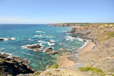 coastline: Algarve: Coastline with cliffs and small beach near Praia de Odeceixe Portugal Stock Photo