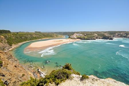 Panoramic view to Odeceixe surfers beach on the West Coast of Algarve District Aljezur Portugal Standard-Bild
