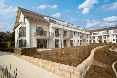 completion: New residential building with outside facilities Construction work near completion