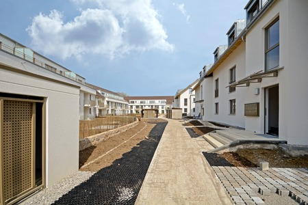 New residential building with outside facilities Construction work near completion