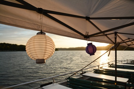 Chain of lights with paper lanterns for a summer party