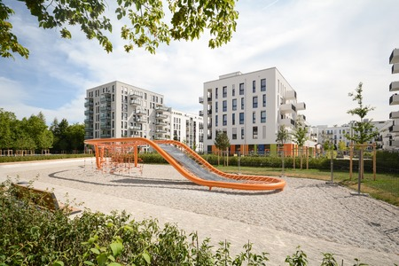 Modern housing with playground in the city