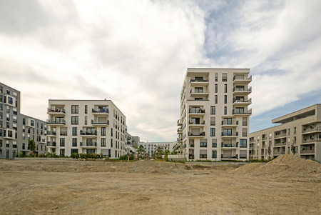 new construction: Construction work - Modern housing in the city