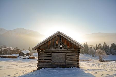 tyrol: Winter landscape with wooden barn, Pitztal Alps - Tyrol Austria Europe