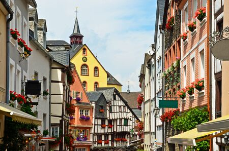 Moselle Valley Germany: View to historic half timbered houses in the old town of Bernkastel-Kues, Europe 写真素材