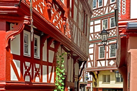 timbered: Moselle Valley Germany: View to historic half timbered houses in the old town of Bernkastel-Kues, Europe Stock Photo