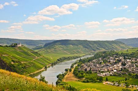 vi�edo: Ver al r�o Mosela y el castillo de Marienburg cerca de la aldea Puenderich - regi�n vin�cola de Mosel en Alemania