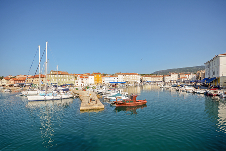 Harbour with old town of Cres, Adriatic sea, Island of Cres, Croatia Europe Stok Fotoğraf - 48962186