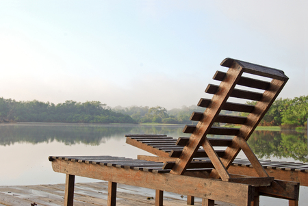 amazon rainforest: Deckchairs on a lookout point in the Amazon rainforest, Brazil