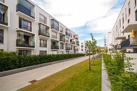 apartment       buildings: Modern residential buildings with outdoor facilities, Facade of new low-energy houses