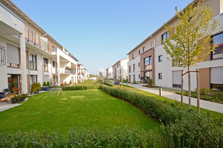 apartment: New residential buildings with walkway and outdoor facilities